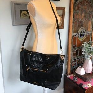 NINE WEST City Chic Large Black Tote LEATHER